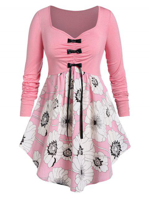 Plus Size Flower Print Bowknot Ruched Long Sleeve Asymmetric Tee - PINK 5X
