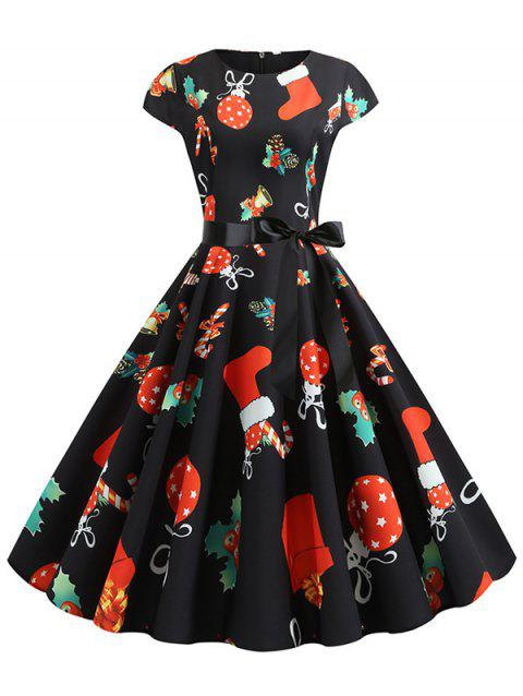 Santa Claus Gifts Belted Flared Christmas Dress