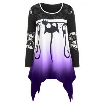 Plus Size Halloween Cat Print Lace Panel Asymmetric Tee