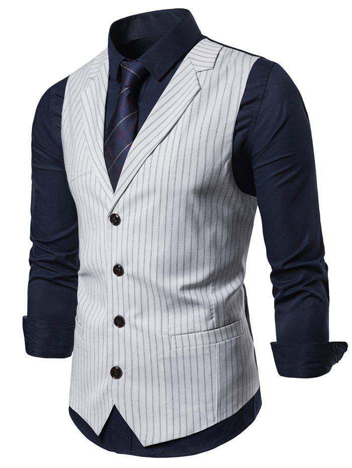Striped Printed Single-breasted Waistcoat - WHITE 2XL