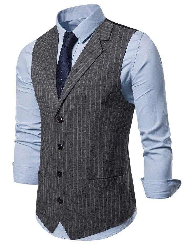 Striped Printed Single-breasted Waistcoat - GRAY 2XL