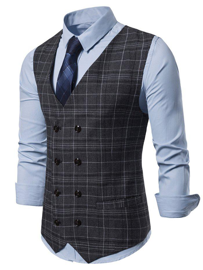 Casual Plaid Pattern Double Breasted Waistcoat - CARBON GRAY L