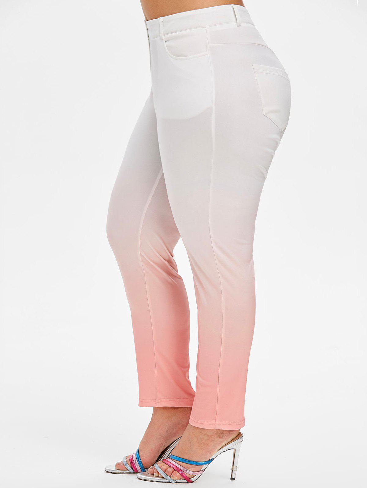 Mid Rise Ombre Skinny Plus Size Pants - PINK L