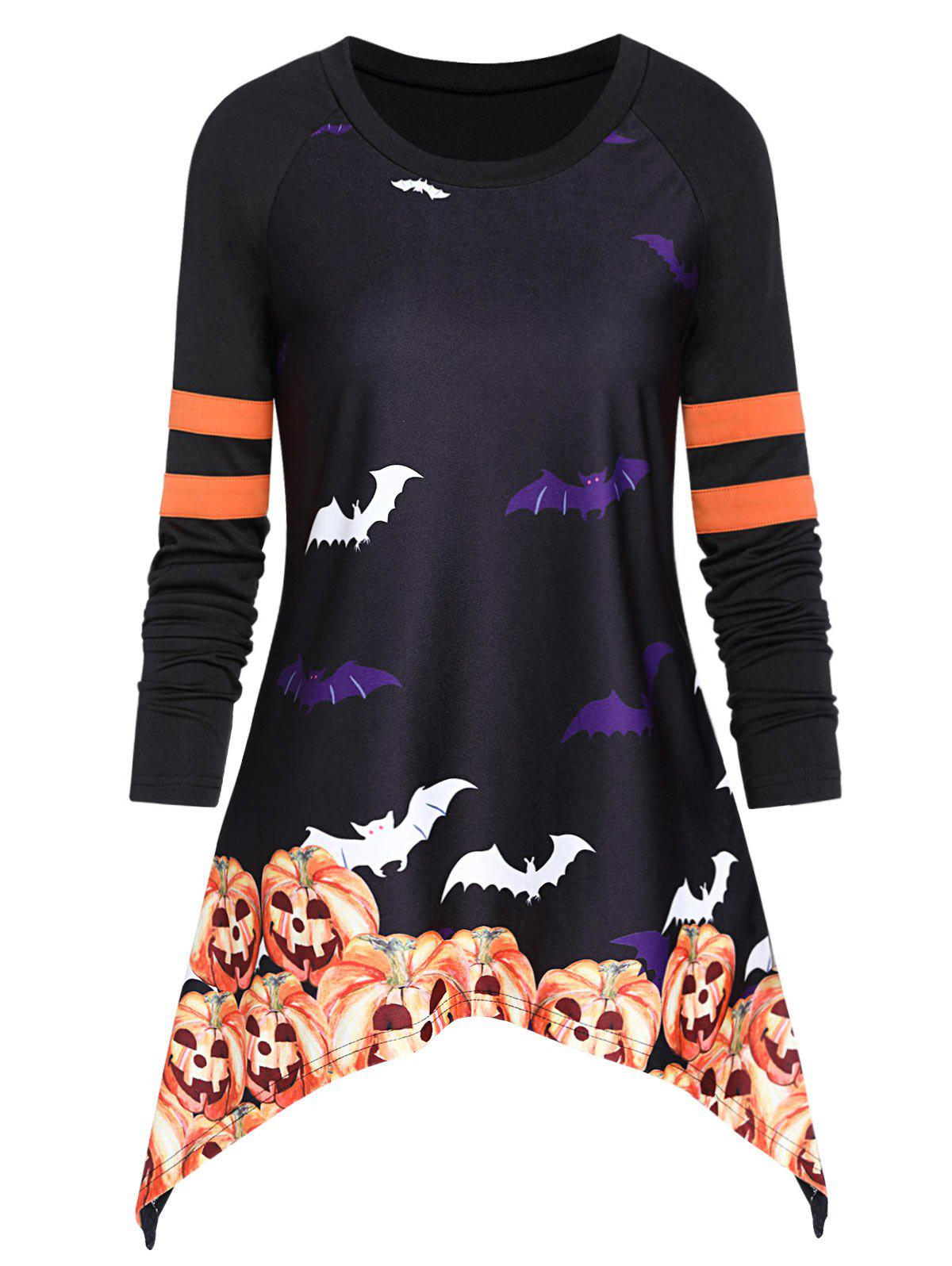 Bat Print Asymmetric Long Sleeve Halloween T Shirt - BLACK 2XL
