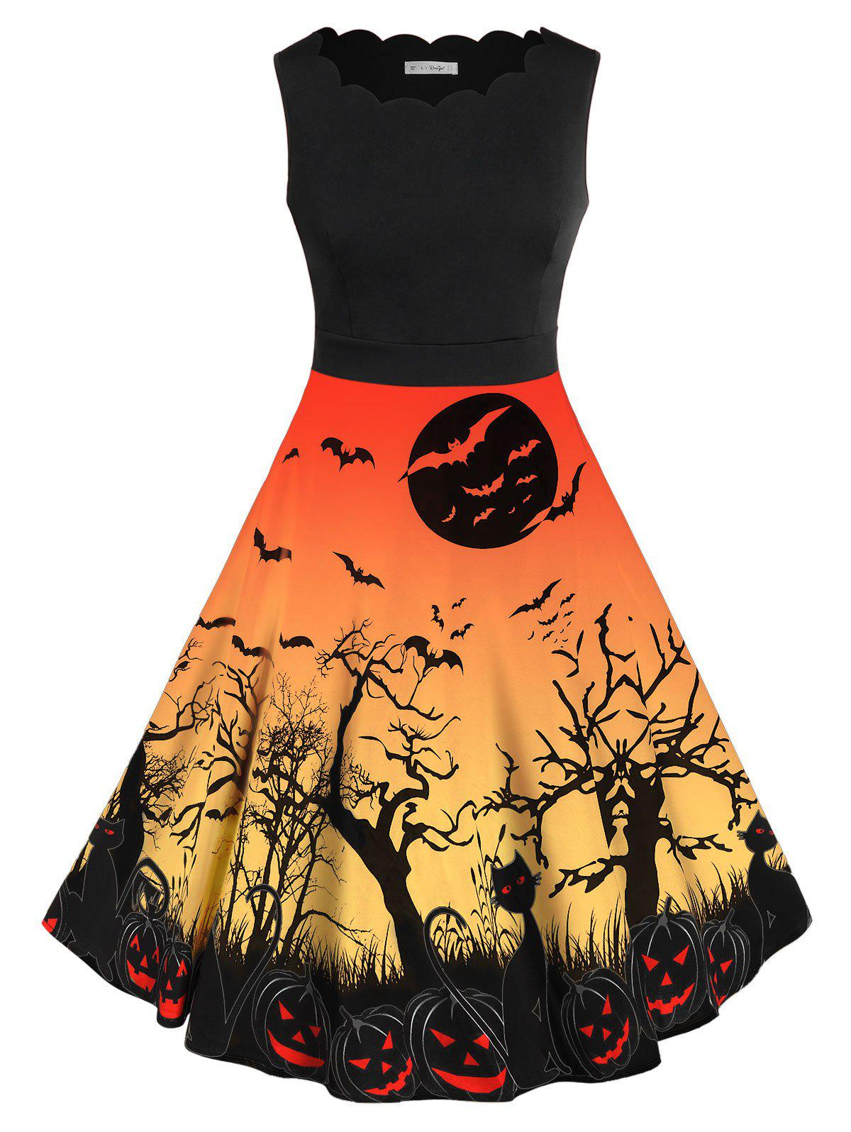 Plus Size Bat Pumpkin Print Halloween Vintage Dress