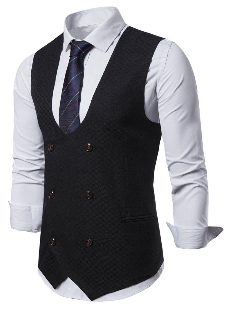 Plaid Printed Double Breasted Waistcoat - BLACK 2XL