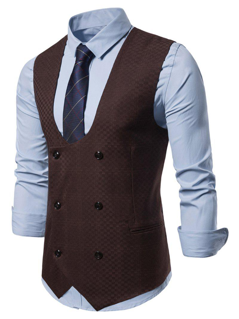 Plaid Printed Double Breasted Waistcoat - DEEP BROWN L