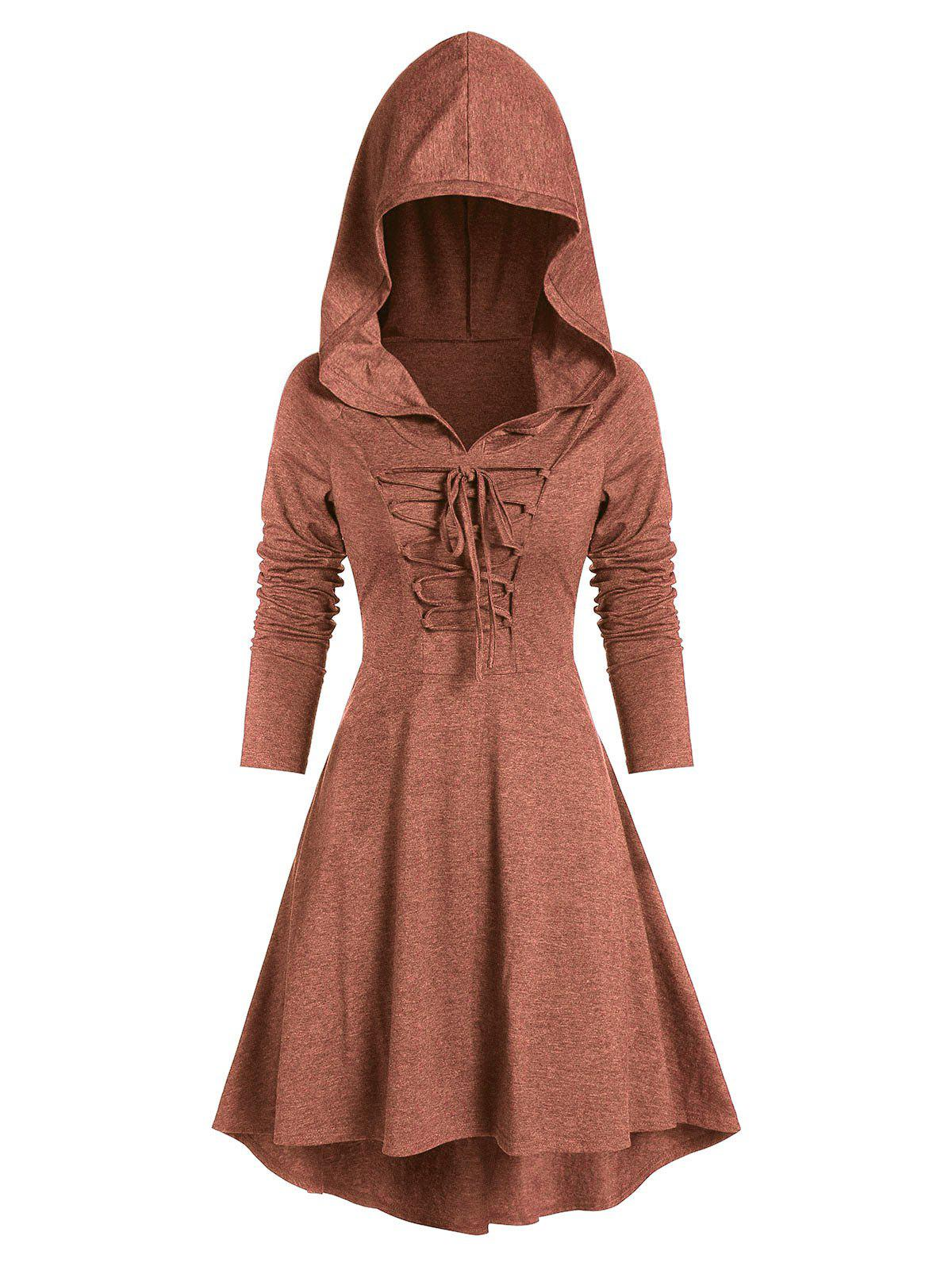 Hooded Lace-up Heathered High Low Gothic Dress - TIGER ORANGE S