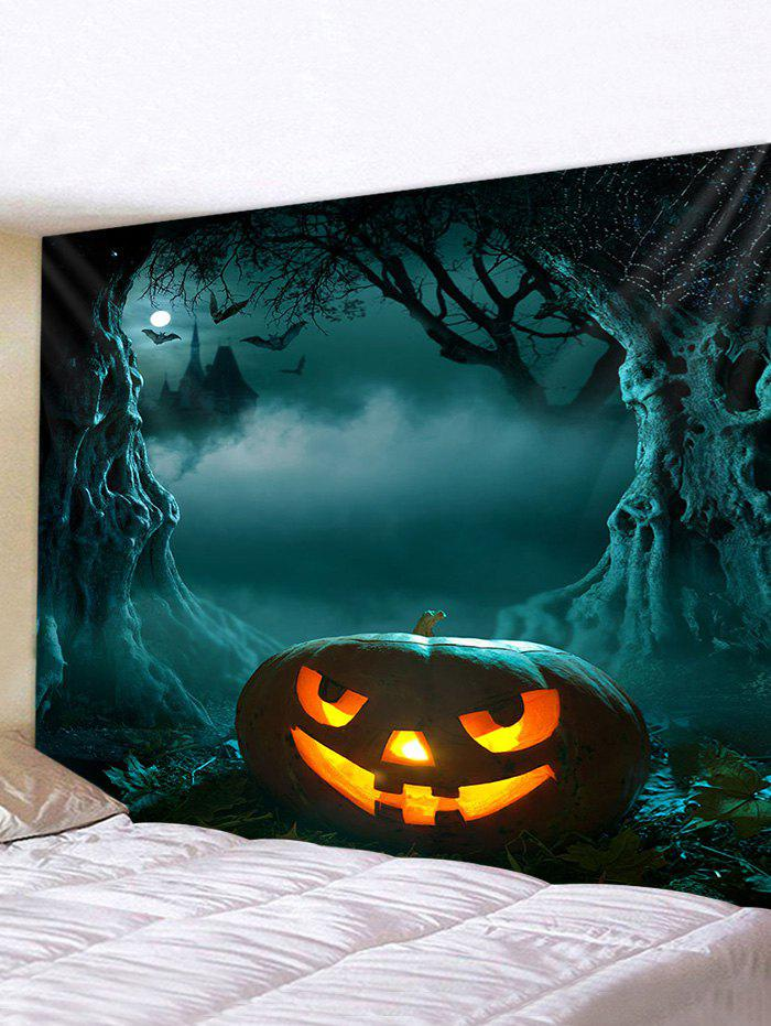 3D Digital Print Halloween Pumpkin Waterproof Wall Tapestry - multicolor W59 X L59 INCH