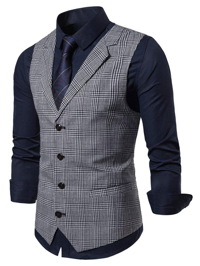Plaid Printed Single-breasted Waistcoat - LIGHT GRAY XL