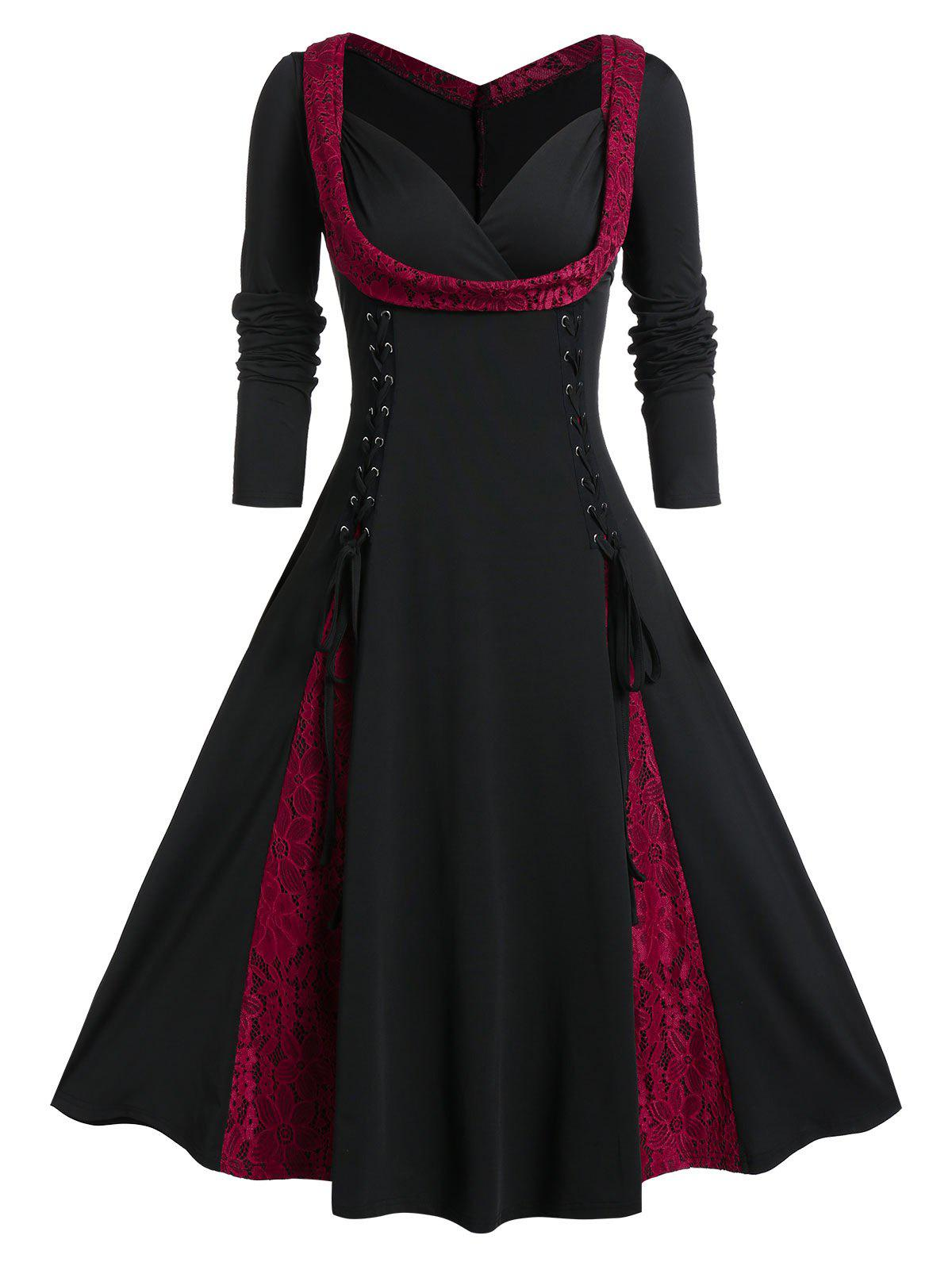 Plus Size Lace Up Fit And Flare Long Sleeve Vintage Dress - JET BLACK 5X