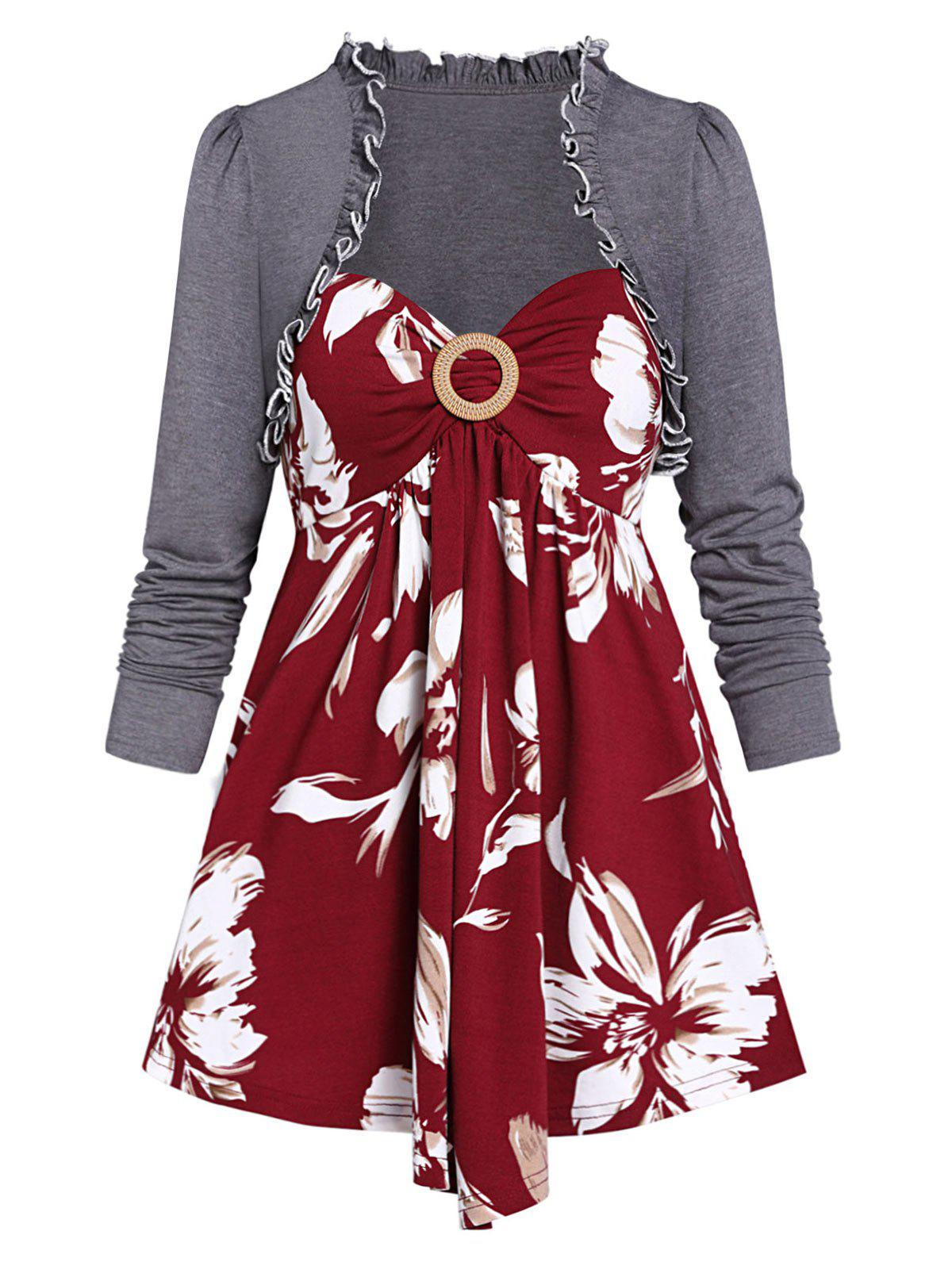 Solid Ruffle T Shirt with Floral Print Tank Top - RED WINE XL