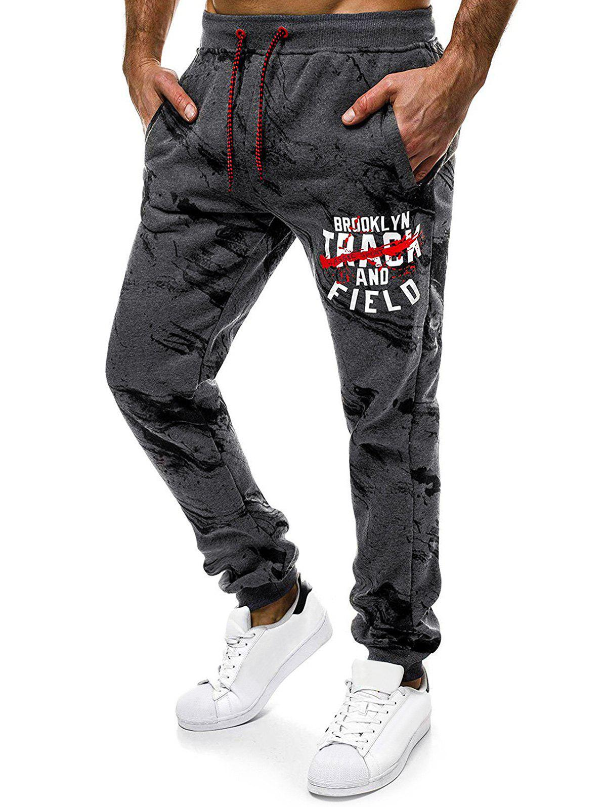 Letter Graphic Painting Print Drawstring Casual Jogger Pants - multicolor 2XL