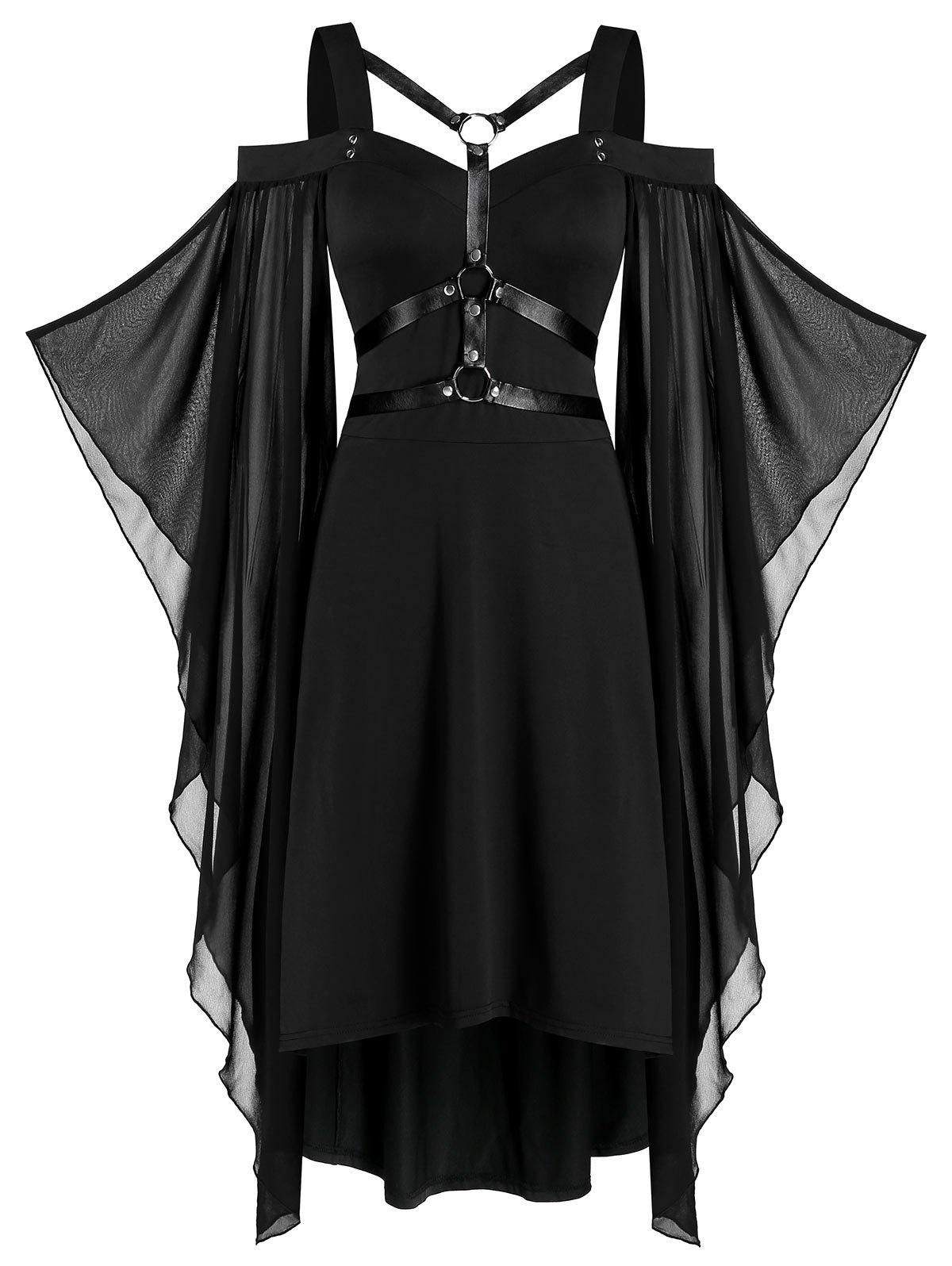 Chiffon Batwing Sleeve Lace-up Harness Insert High Low Dress - BLACK L