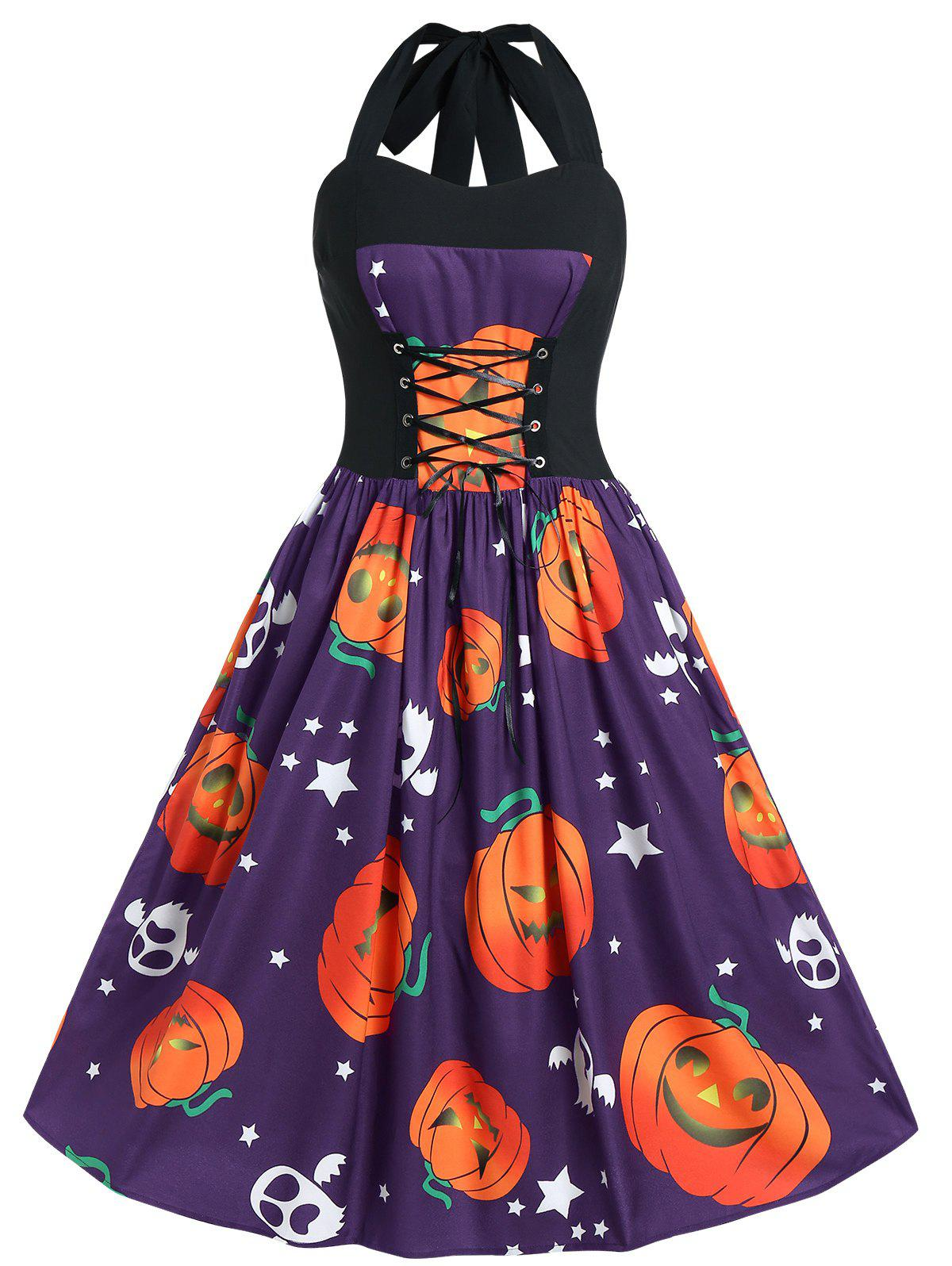Plus Size Halloween Pumpkin Print Vintage Dress