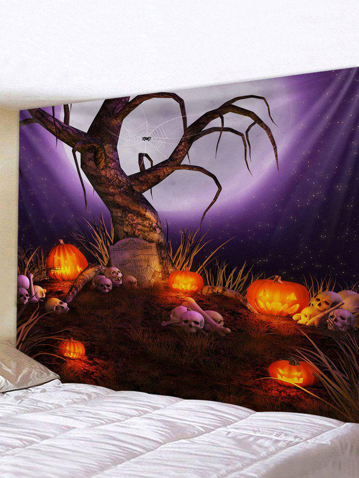 Halloween Moon Night Tree Print Tapestry Wall Hanging Art Decoration - multicolor W79 X L71 INCH