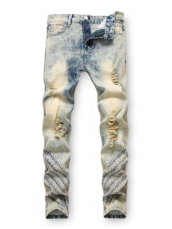 Embroidery Decoration Zip Fly Ripped Jeans - JEANS BLUE 32
