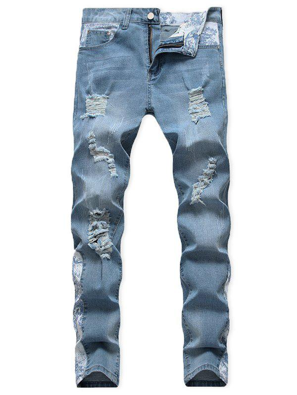 Casual Ripped Decoration Zip Fly Jeans - DENIM BLUE 34
