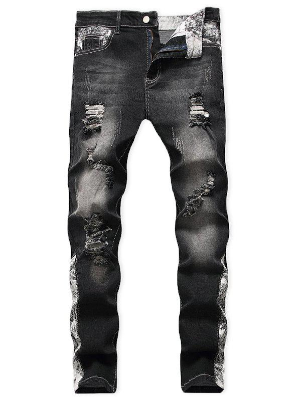 Casual Ripped Decoration Zip Fly Jeans - BLACK 32