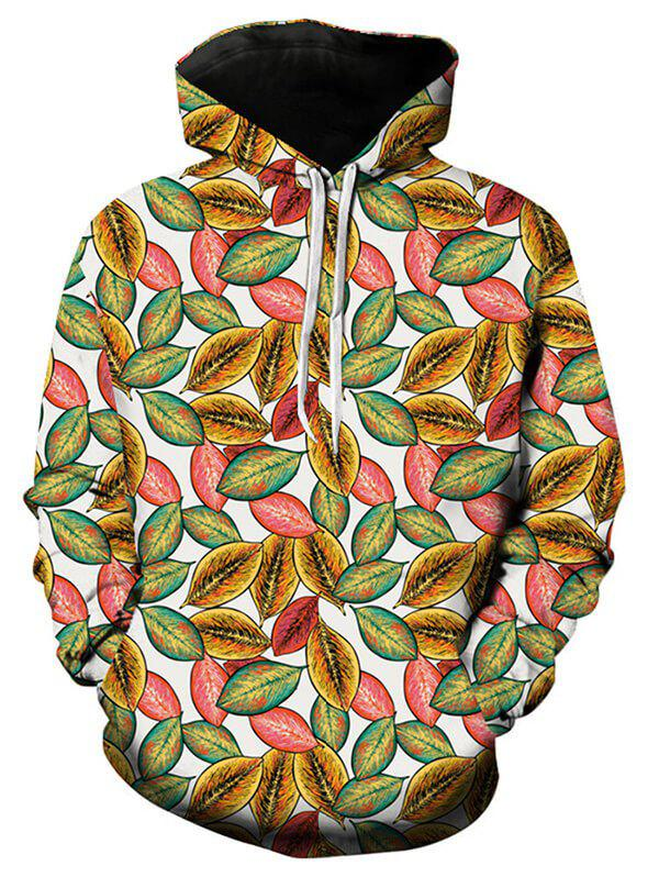 Leaf Print Casual Pocket Hoodie - WHITE 4XL