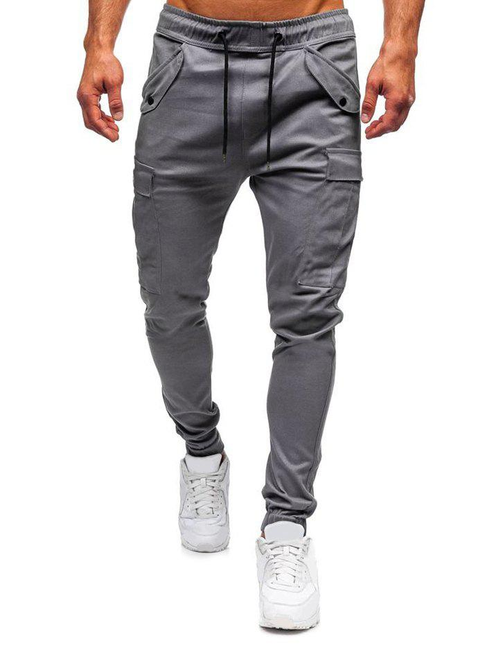 Snap Button Accent Casual Jogger Pants - GRAY XL