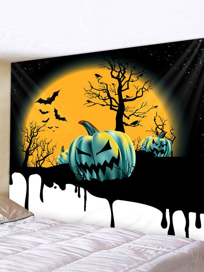 Halloween Moon Night Pumpkins Print Tapestry Wall Hanging Art Decoration - multicolor W59 X L59 INCH