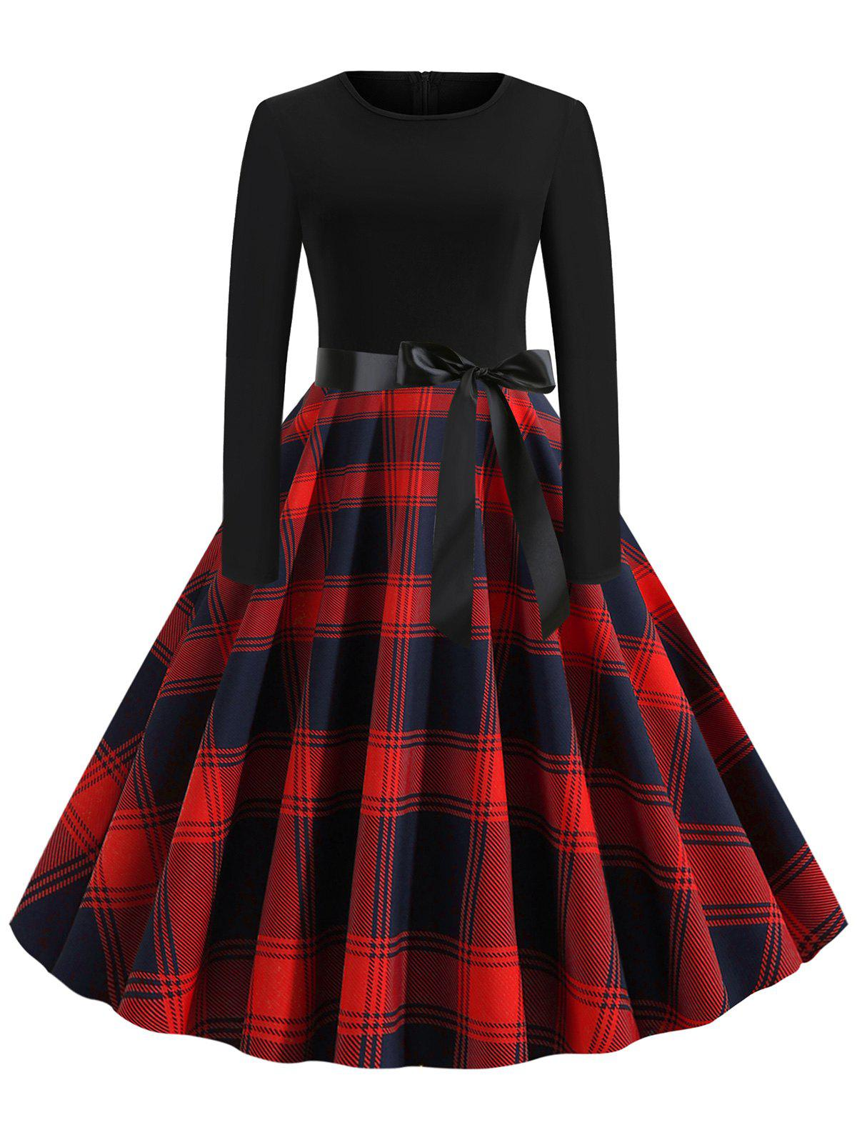 Plaid Belted Long Sleeves Rockabilly Style Flare Dress - RED XL