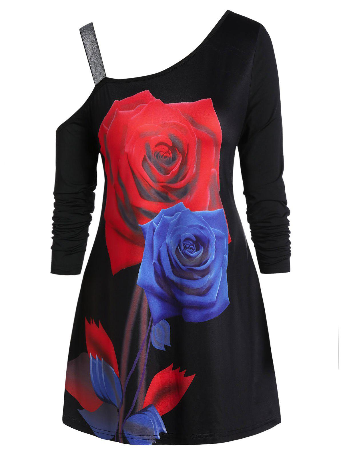 Plus Size Rose Print Skew Neck T Shirt - BLACK 4X