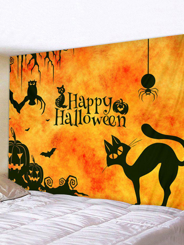 Halloween Cartoon Animals Print Tapestry Wall Hanging Art Decoration - multicolor W59 X L51 INCH