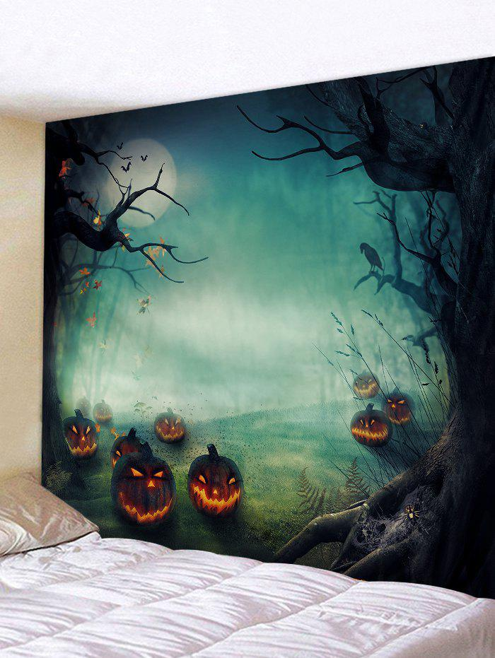 Halloween Night Pumpkins Print Tapestry Wall Hanging Art Decoration - MEDIUM AQUAMARINE W79 X L59 INCH