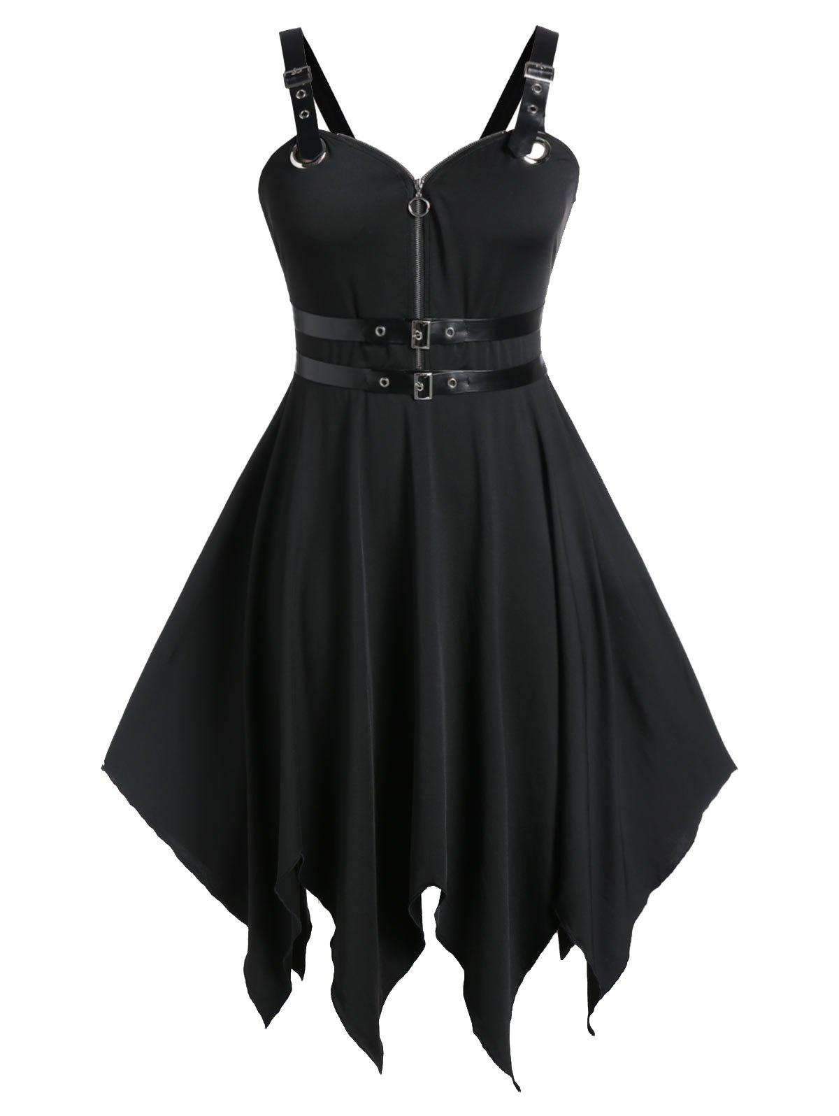 Plus Size Halloween Buckle Straps PU Trims Punk Dress - BLACK 5X