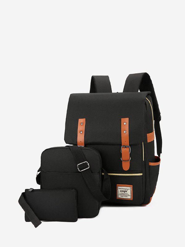 3 Piece Buckle Strap Large Capacity Canvas Backpack Set - BLACK