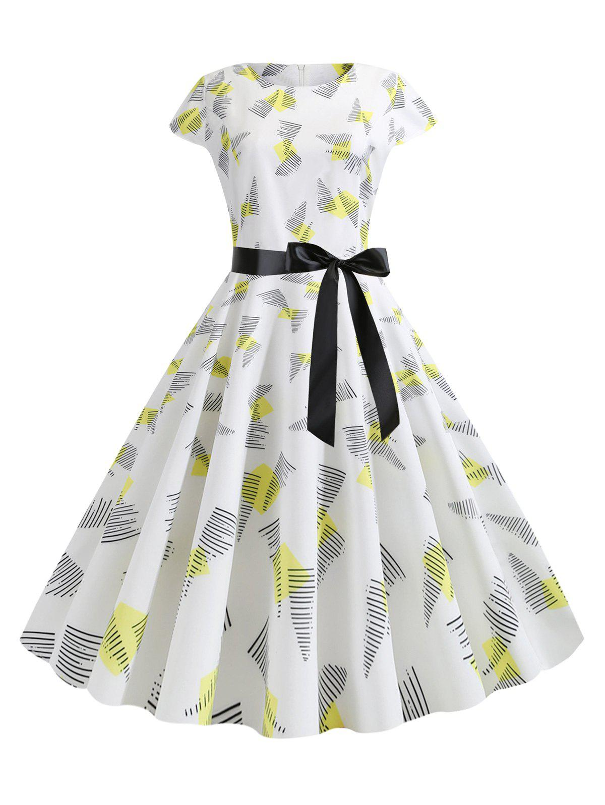Cap Sleeves Printed Belted Flare Dress - YELLOW M