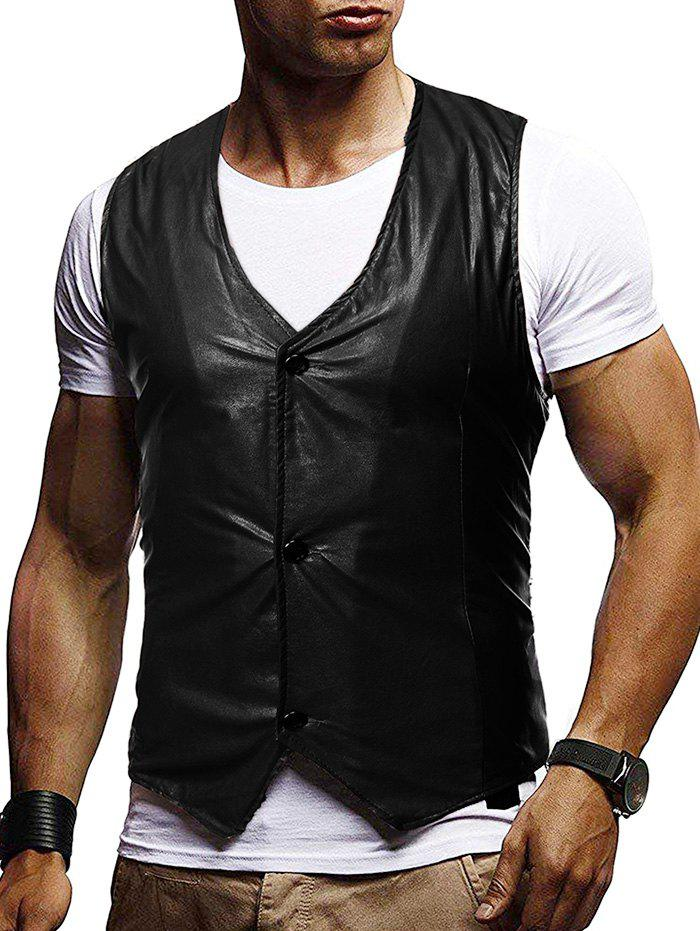 Button Up Buckle Back Business Vinyl Vest - BLACK S
