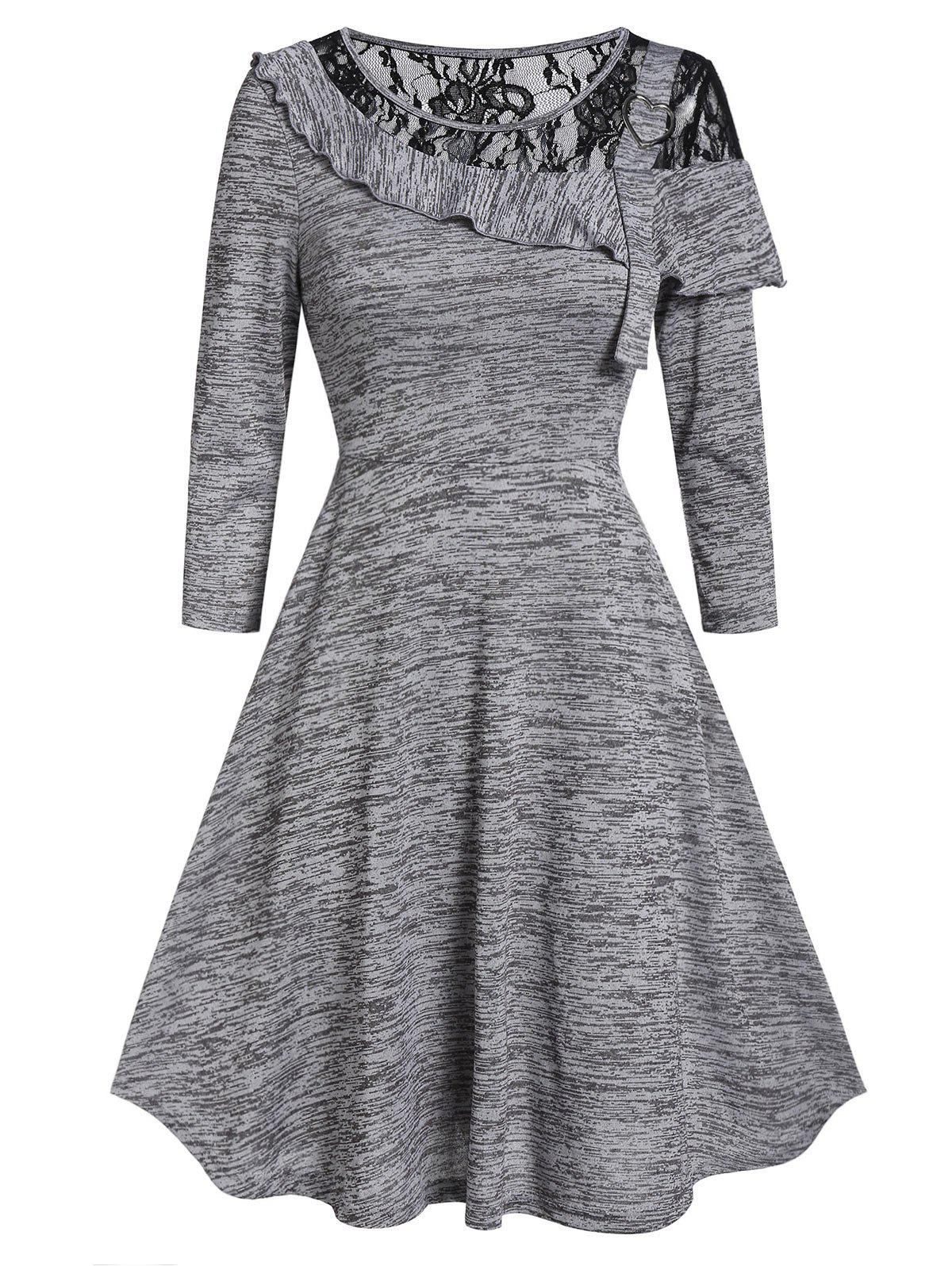 Marled Lace Insert Round Collar Fit And Flare Dress - GRAY L