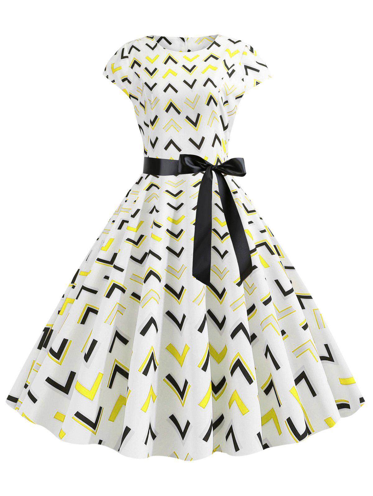 Geometric Print Belted Cap Sleeves Dress - YELLOW M