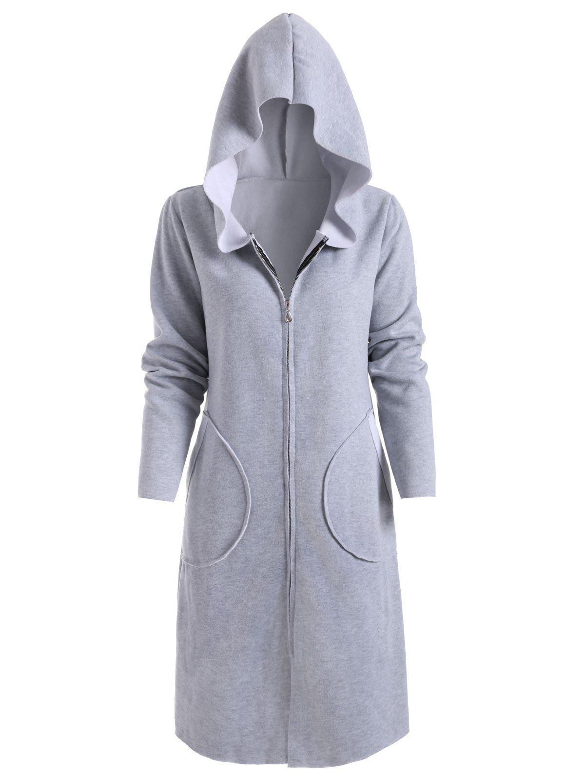 Zip Up Hooded Coat with Pockets - GRAY S