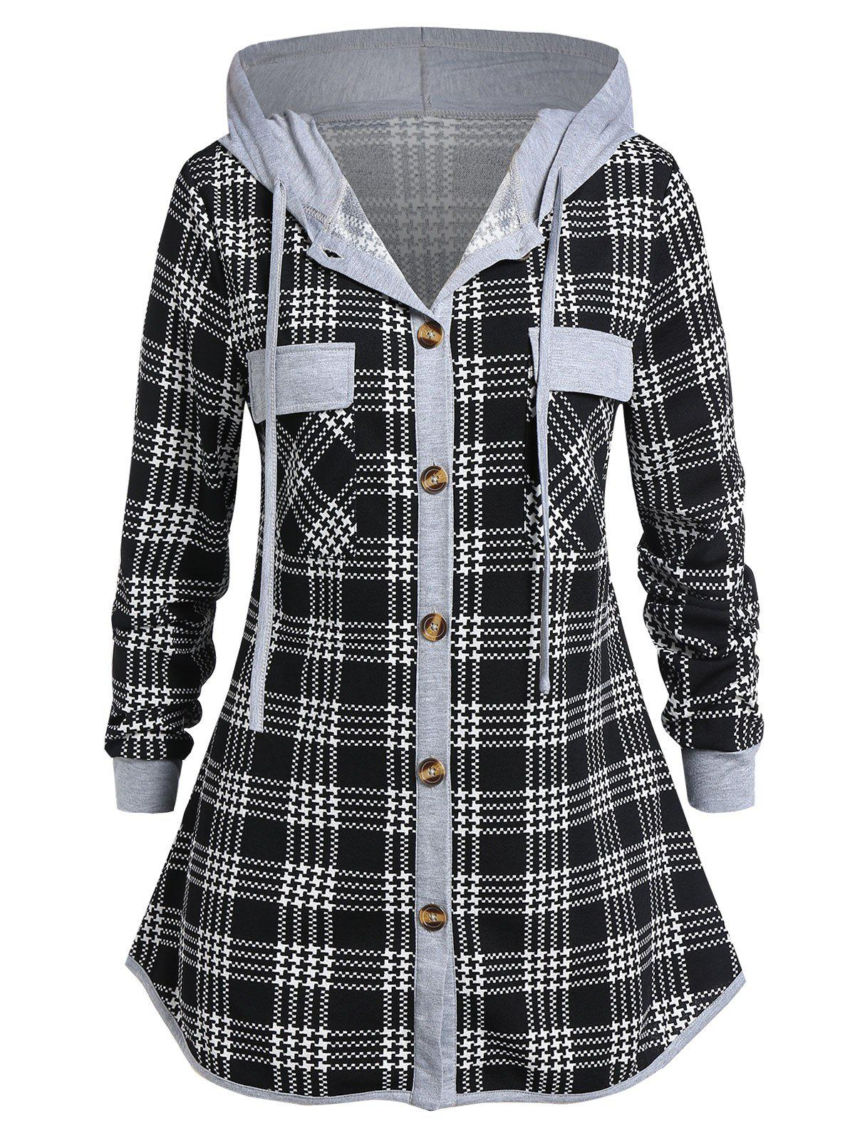 Plus Size Hooded Button Checked Shirt - NIGHT 4X