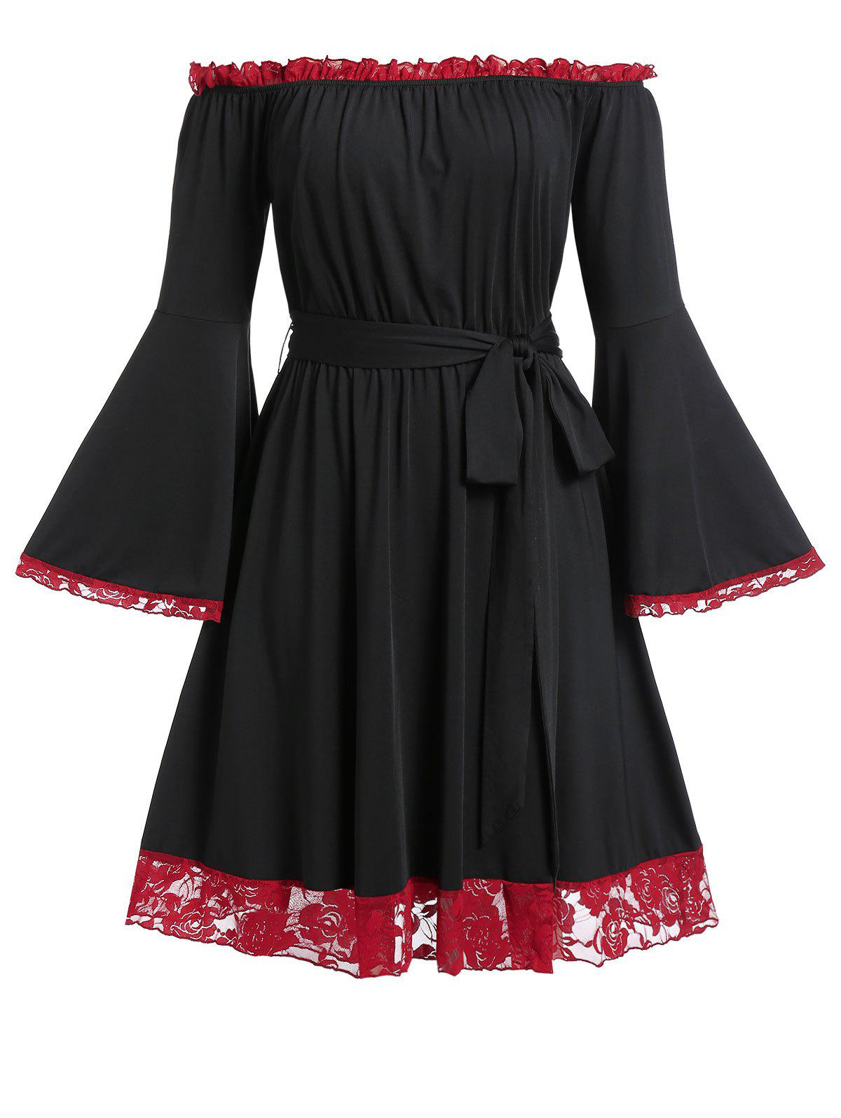 Plus Size Lace Trim Bell Sleeve Off  The Shoulder Dress - BLACK L
