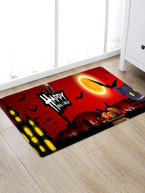 Halloween Pumpkin Bat Castle Printed Floor Rug - multicolor E W20 X L31.5 INCH
