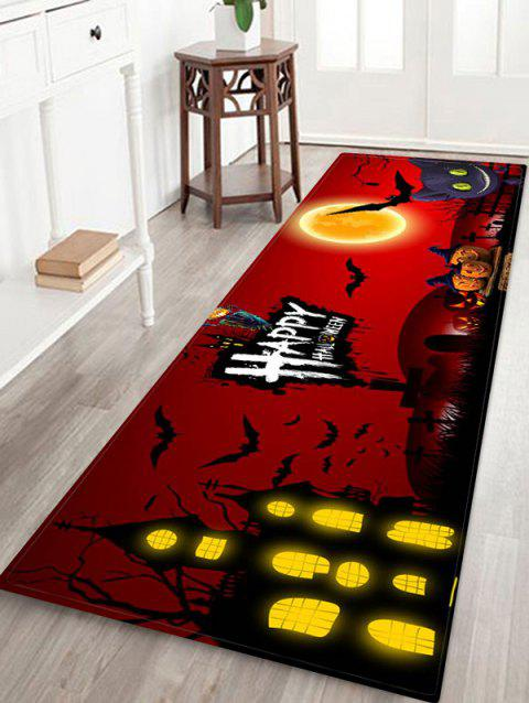 Halloween Pumpkin Bat Castle Printed Floor Rug - multicolor E W16 X L47 INCH