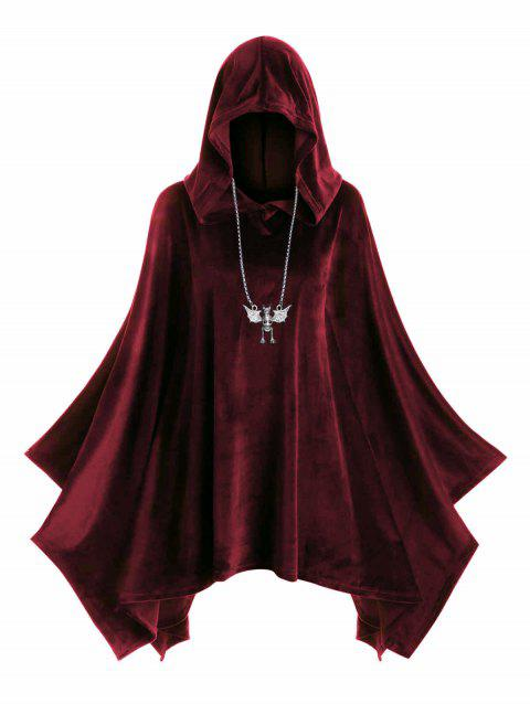 Hooded Velvet Plus Size Poncho - RED WINE L