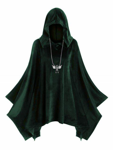 Hooded Velvet Plus Size Poncho - DARK FOREST GREEN L