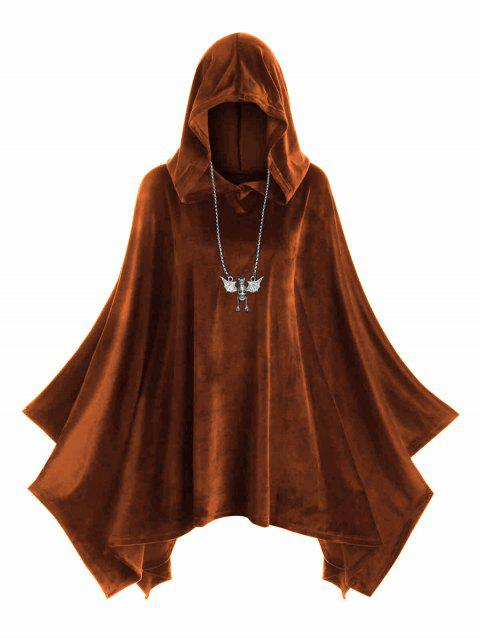 Hooded Velvet Plus Size Poncho - HALLOWEEN ORANGE 2X
