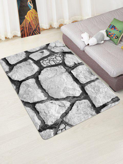 Rock Stone 3D Printed Floor Rug - COOL WHITE W47 X L63 INCH