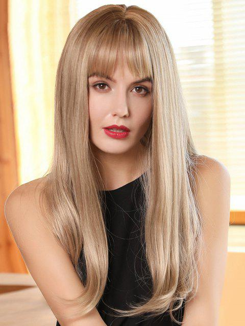 See-through Bang Long Straight Ombre Synthetic Wig - multicolor