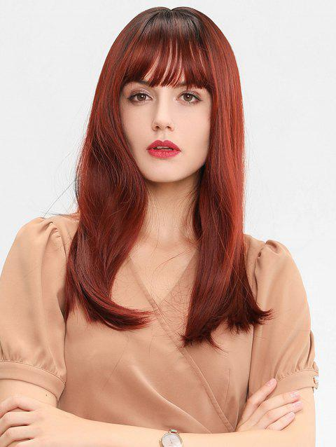 Full Bang Long Straight Ombre Synthetic Wig - multicolor
