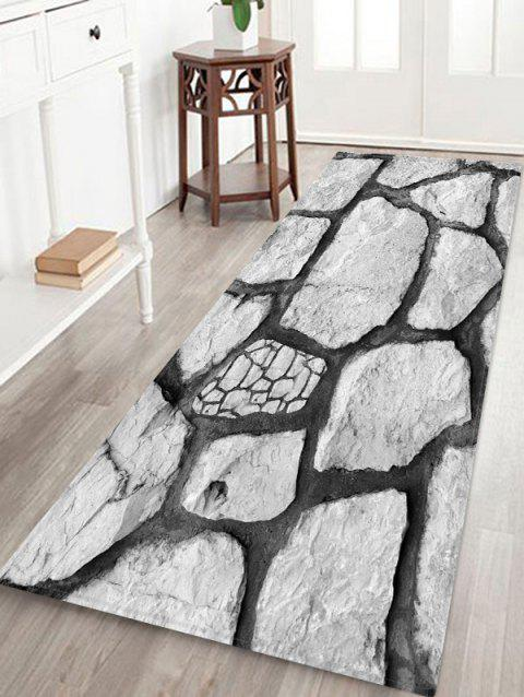 Rock Stone 3D Printed Floor Rug - COOL WHITE W24 X L71 INCH