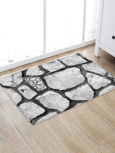 Rock Stone 3D Printed Floor Rug - COOL WHITE W16 X L24 INCH