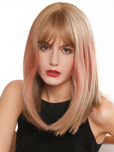 See-through Bang Straight Medium Ombre Synthetic Wig - multicolor